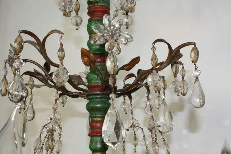 Italian Crystal and Glass Chandelier with Turned Wood Column For Sale 4