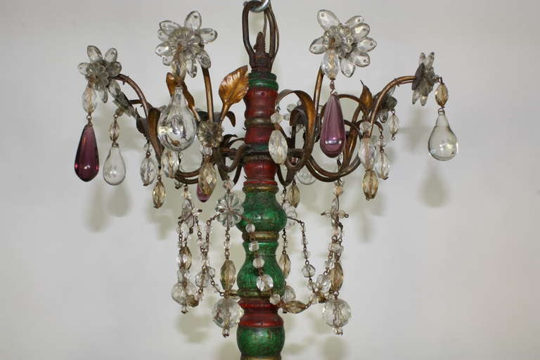 Italian Crystal and Glass Chandelier with Turned Wood Column For Sale 3
