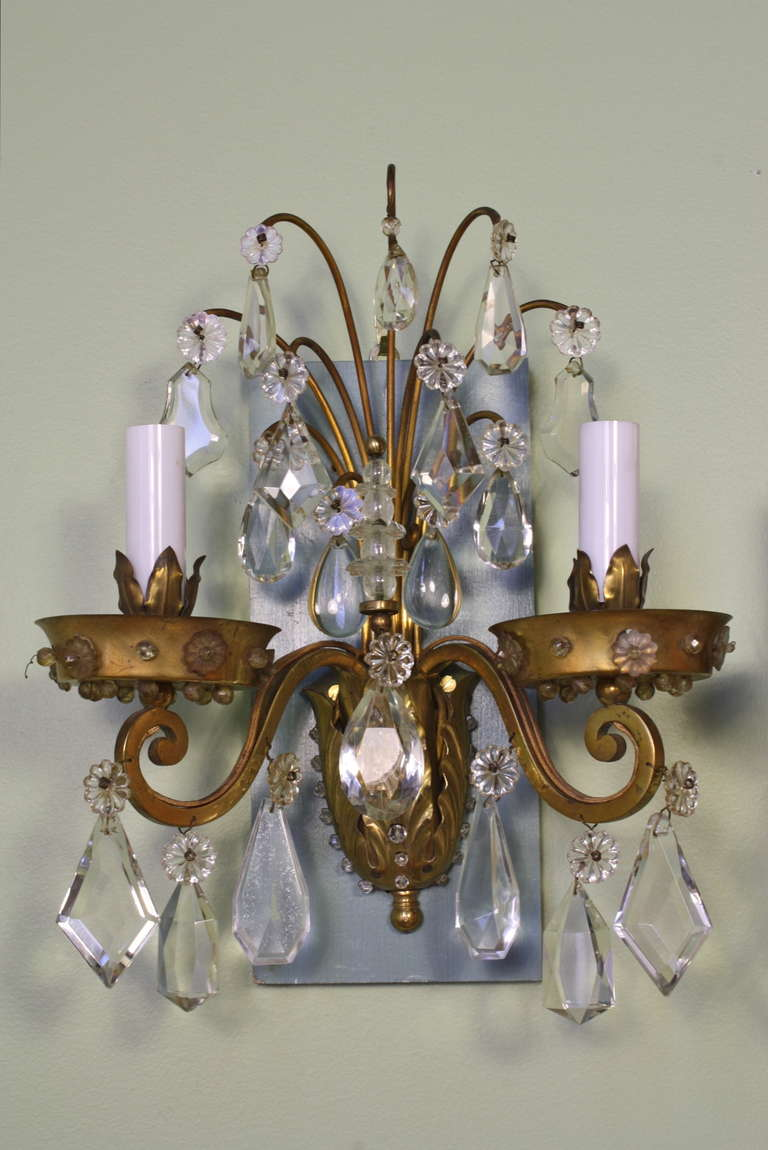 Pair of Gilt-Bronze and Crystal Sconces by Maison Baguès In Good Condition For Sale In Charleston, SC