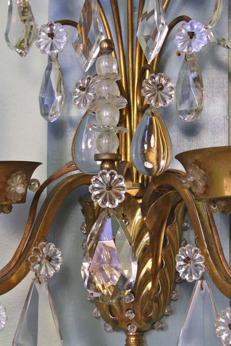 Pair of Gilt-Bronze and Crystal Sconces by Maison Baguès For Sale 1