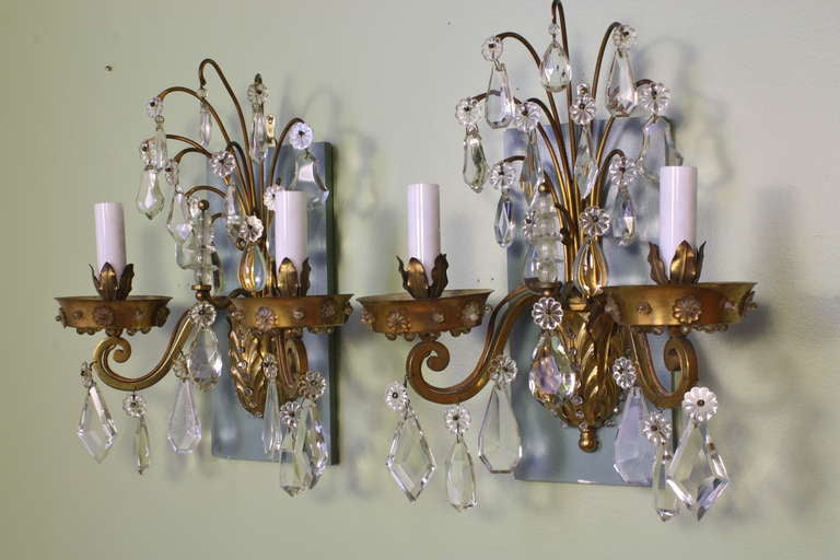 French Pair of Gilt-Bronze and Crystal Sconces by Maison Baguès For Sale