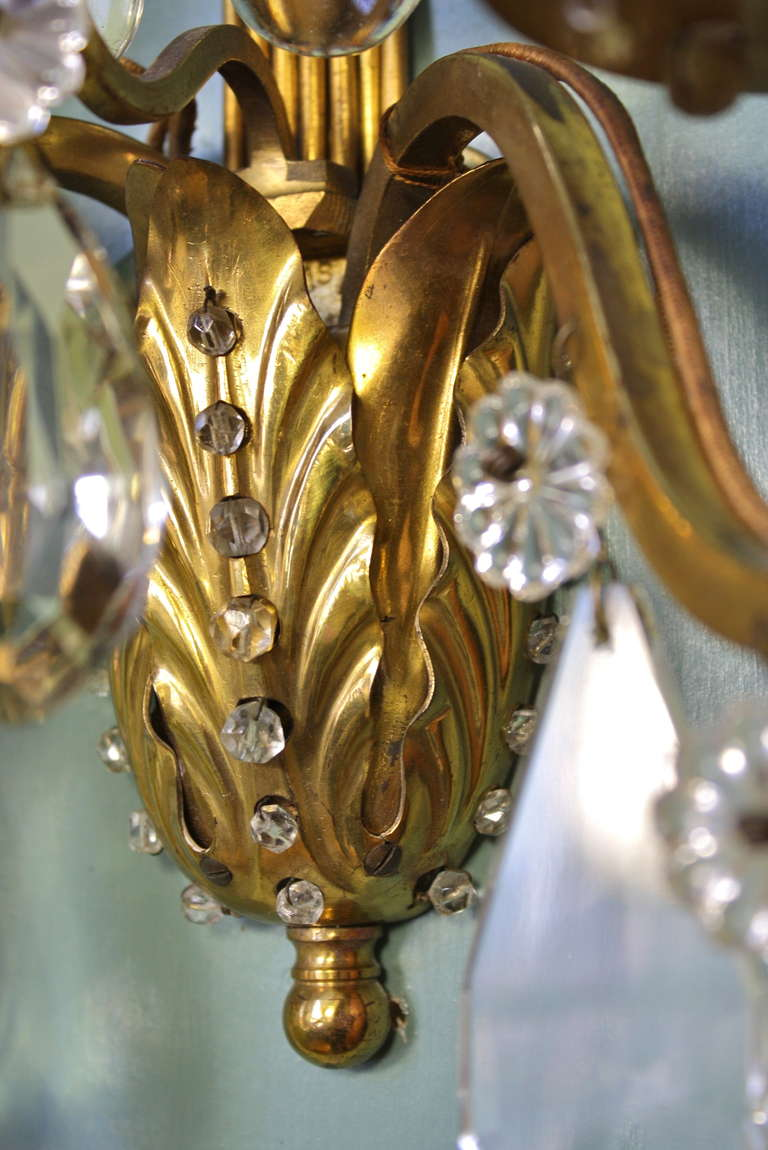 Pair of Gilt-Bronze and Crystal Sconces by Maison Baguès For Sale 2