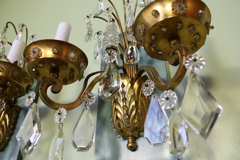 Pair of Gilt-Bronze and Crystal Sconces by Maison Baguès For Sale 3