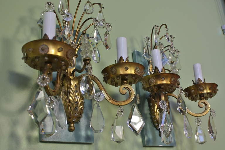 20th Century Pair of Gilt-Bronze and Crystal Sconces by Maison Baguès For Sale