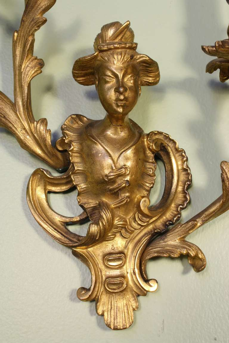 Pair of French Chinoiserie Style Gilt Bronze Sconces For Sale 3
