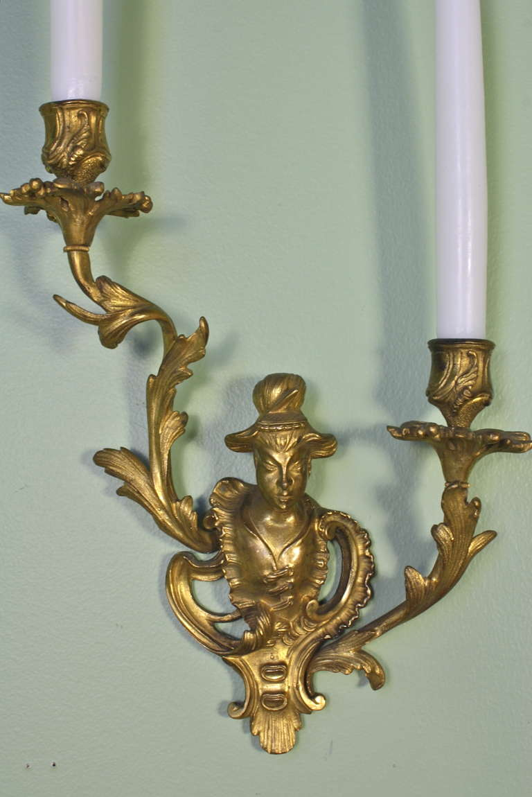 Pair of French Chinoiserie Style Gilt Bronze Sconces In Good Condition For Sale In Charleston, SC