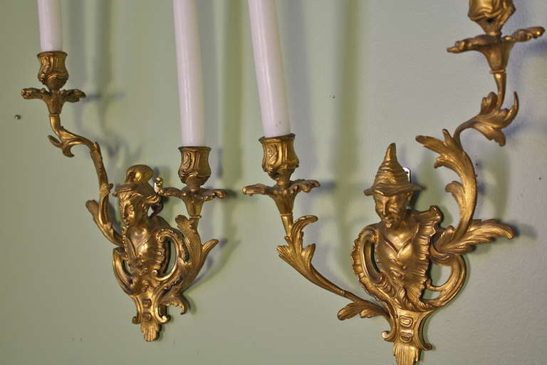 Pair of French Chinoiserie Style Gilt Bronze Sconces For Sale 5