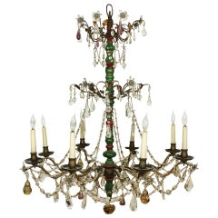 Italian Crystal and Glass Chandelier with Turned Wood Column