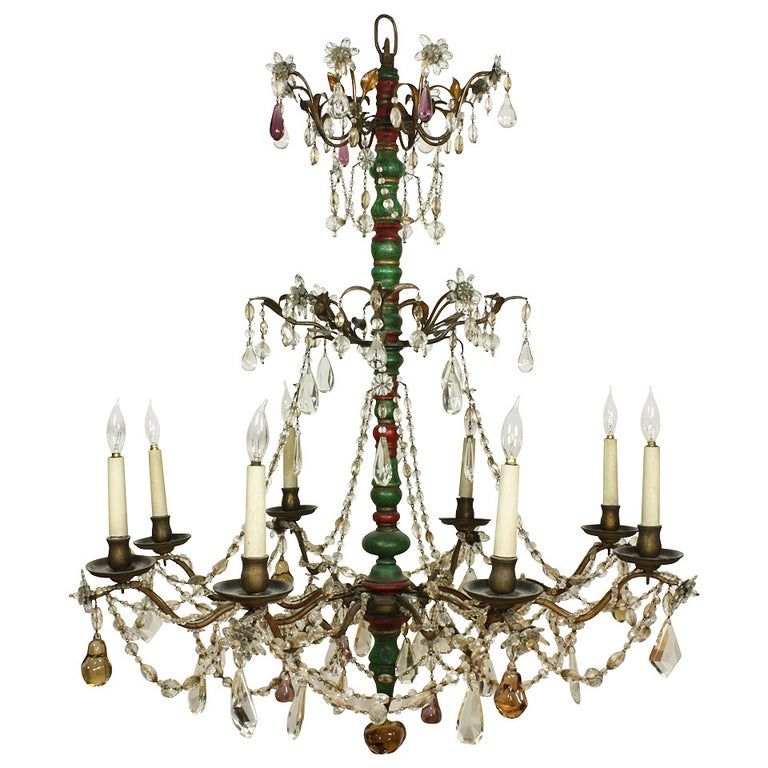 Italian Crystal and Glass Chandelier with Turned Wood Column For Sale