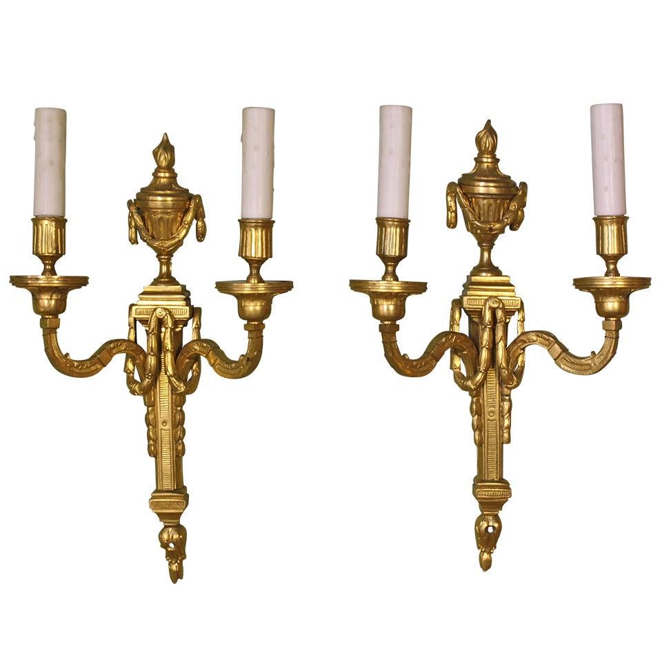 Pair of Gilt Bronze Louis XVI Style Sconces
