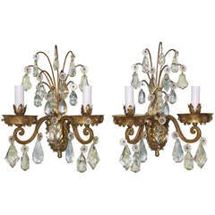 Pair of Gilt-Bronze and Crystal Sconces by Maison Baguès