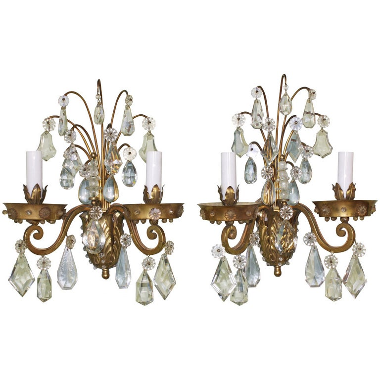 Pair of Gilt-Bronze and Crystal Sconces by Maison Baguès For Sale