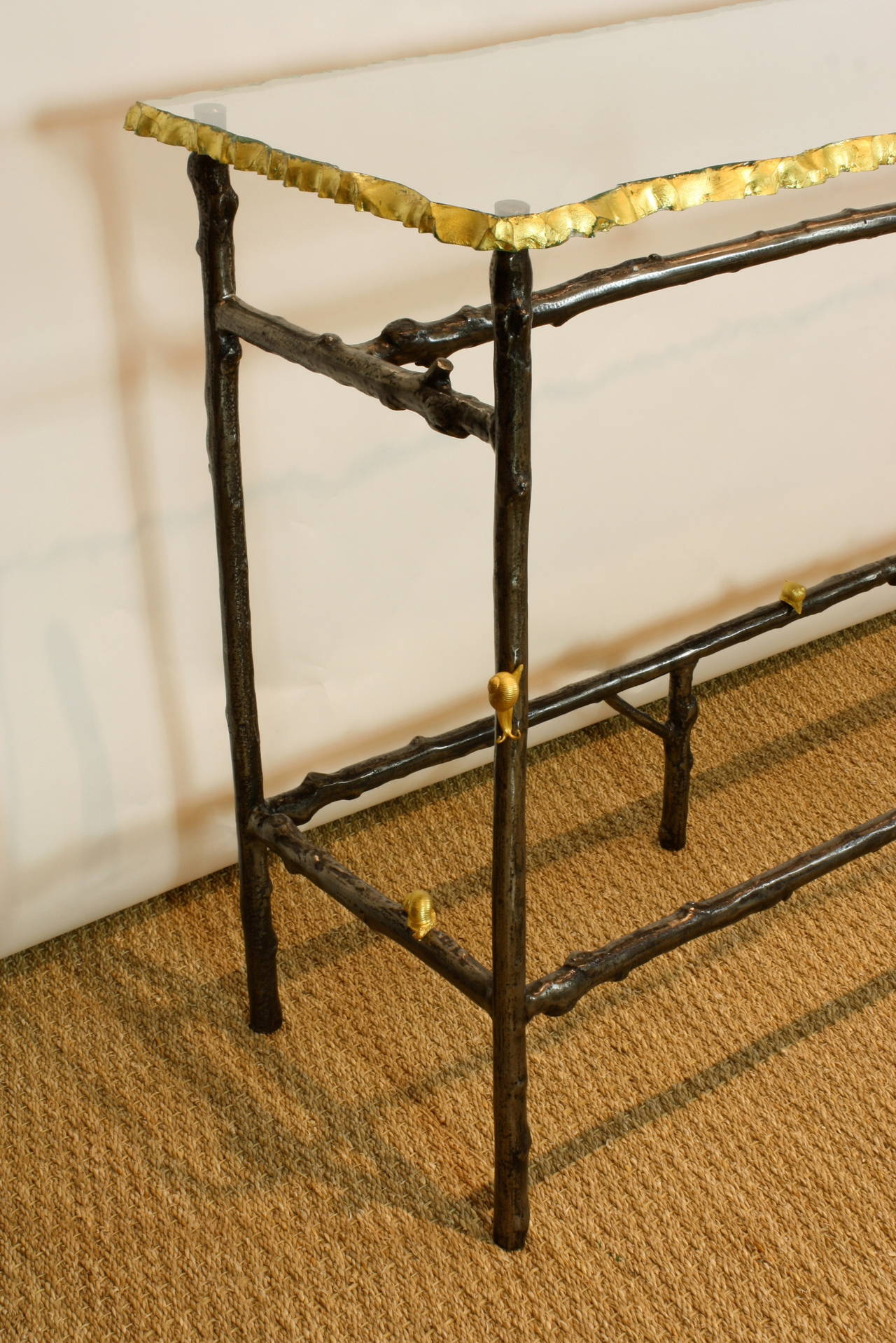 Unusual French Glass Top Faux Twig Console Table With Gilt Bronze Snails 3 Part 7