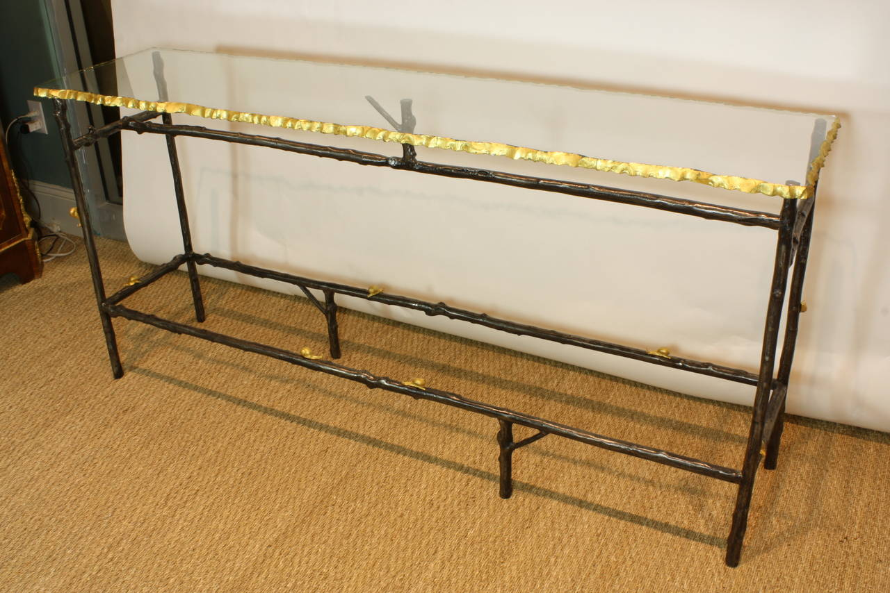 Unusual French Glass Top Faux Twig Console Table With Gilt Bronze Snails 2
