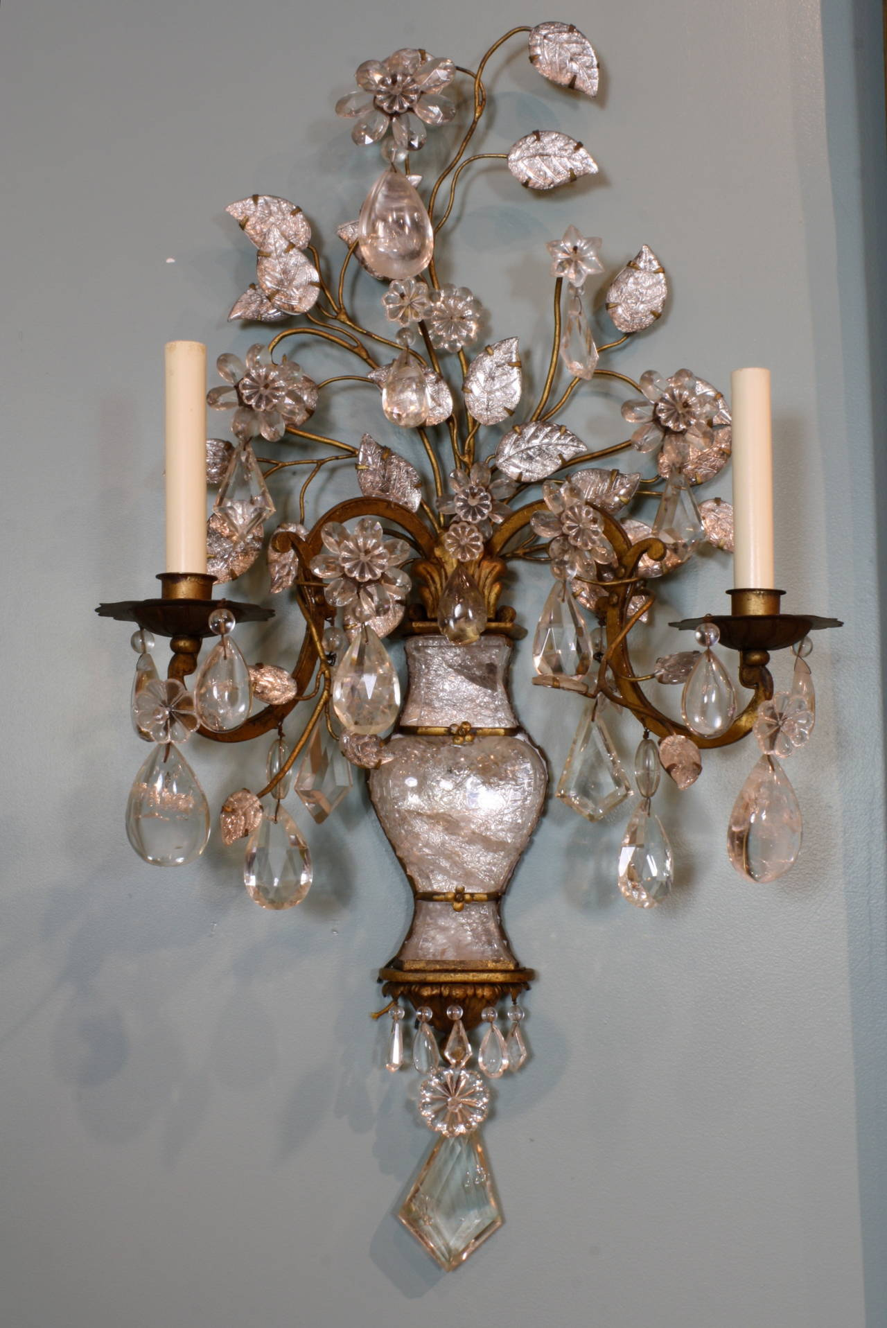 French Spectacular Pair of Maison Baguès Rock Crystal Sconces For Sale