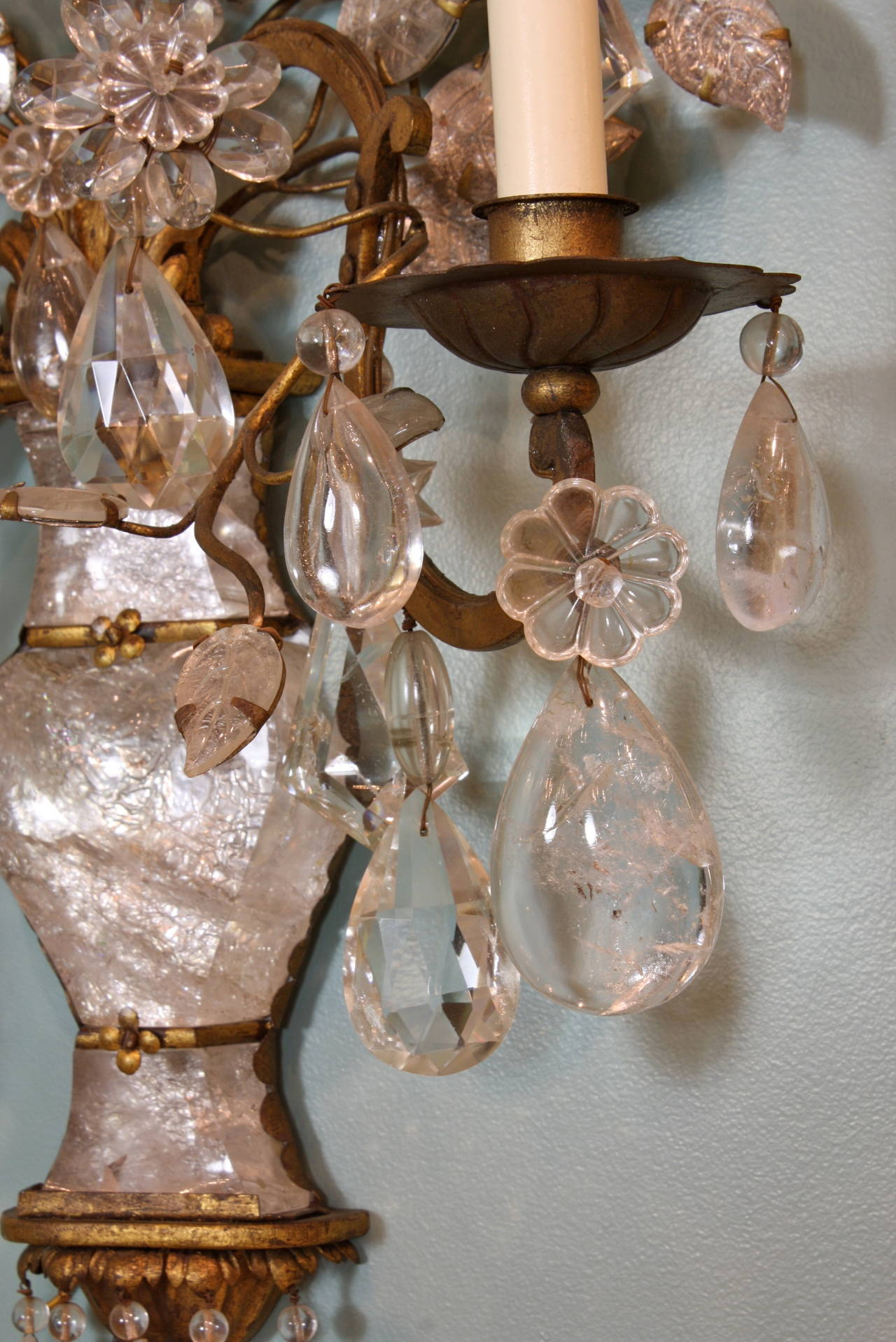 Glass Spectacular Pair of Maison Baguès Rock Crystal Sconces For Sale