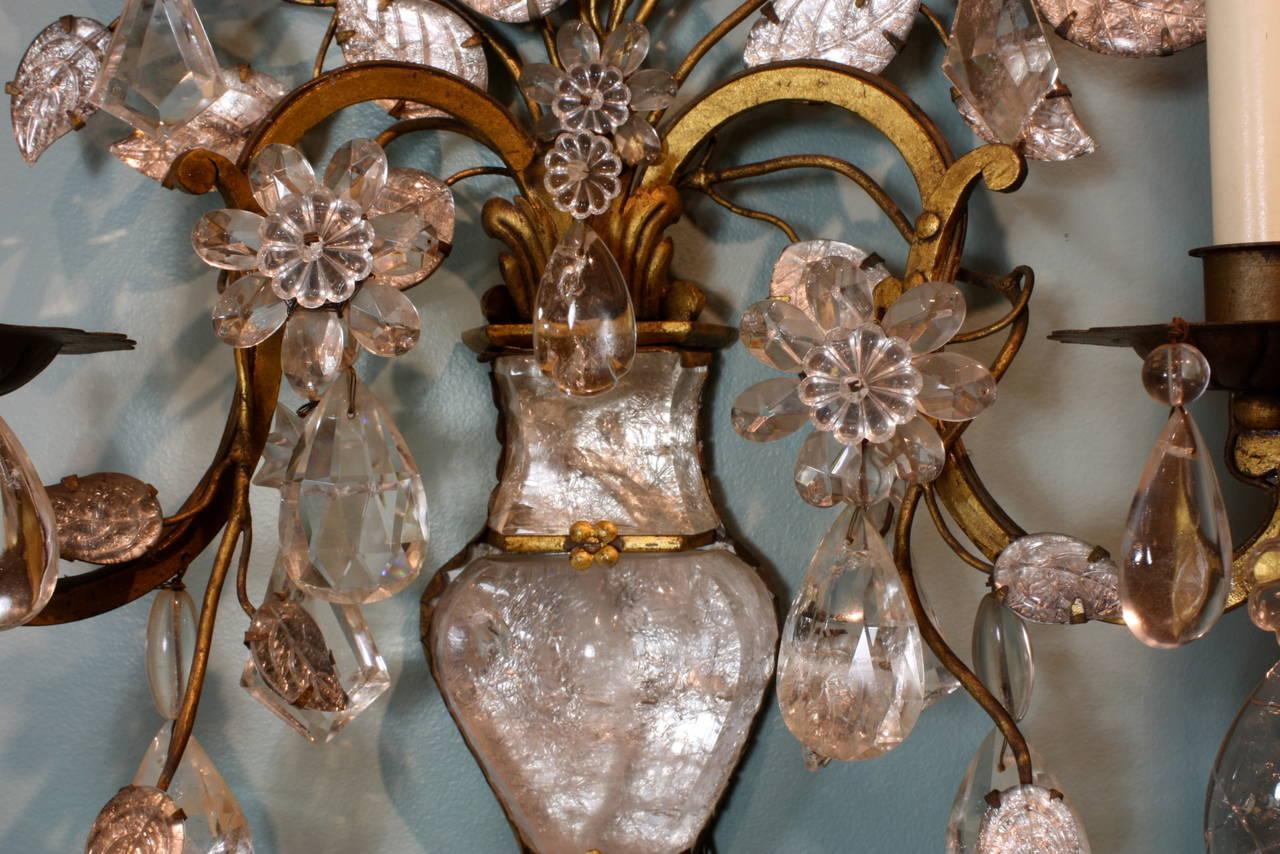 Spectacular Pair of Maison Baguès Rock Crystal Sconces For Sale 1