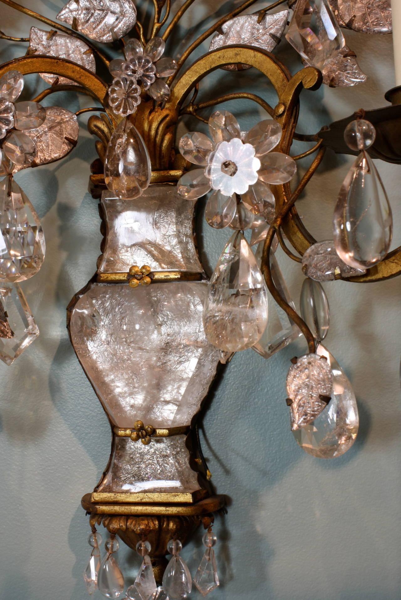 Spectacular Pair of Maison Baguès Rock Crystal Sconces For Sale 2