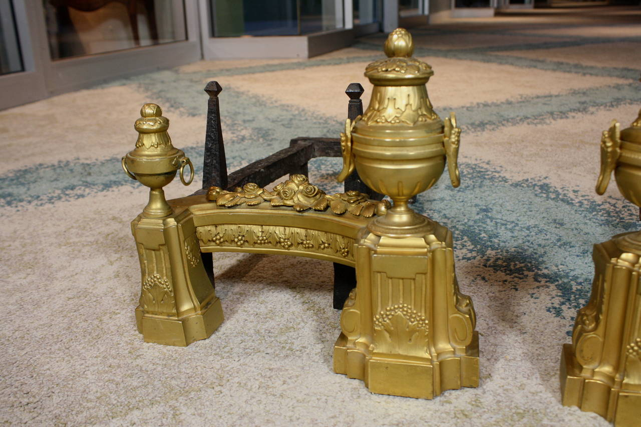 Pair of French Gilt-Bronze Neoclassical Andirons In Good Condition For Sale In Pembroke, MA