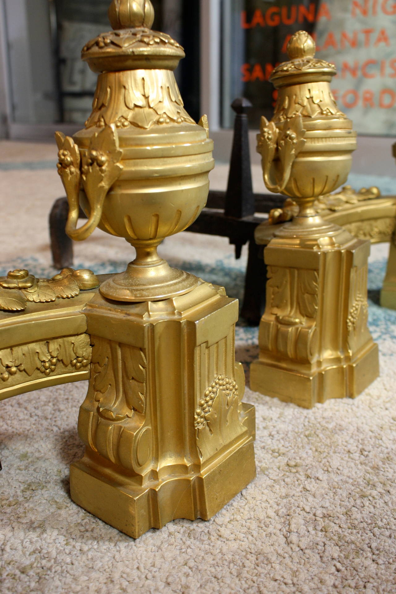 Pair of French Gilt-Bronze Neoclassical Andirons For Sale 4