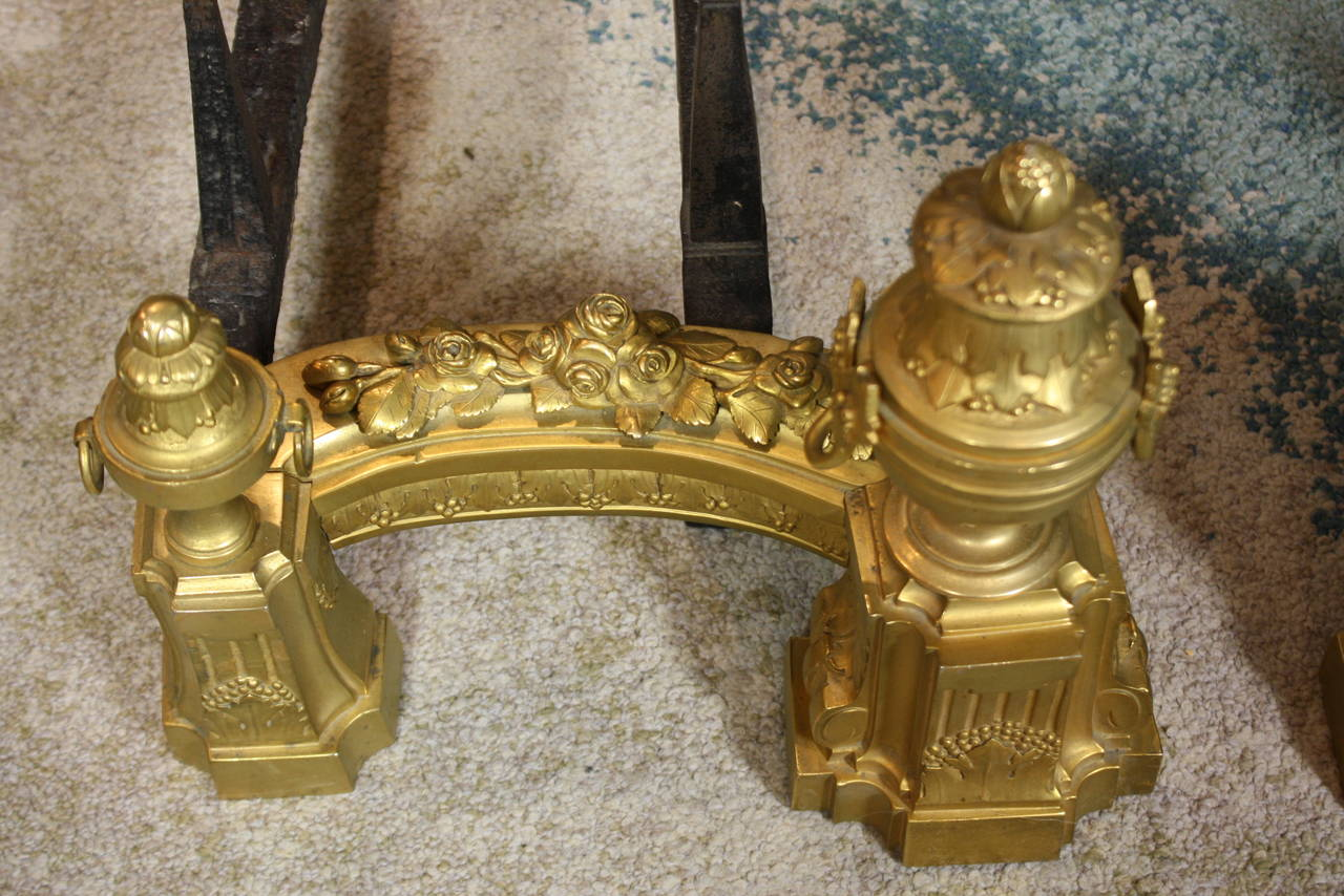 Pair of French Gilt-Bronze Neoclassical Andirons For Sale 2
