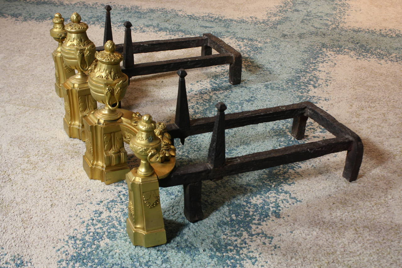 Forged Pair of French Gilt-Bronze Neoclassical Andirons For Sale