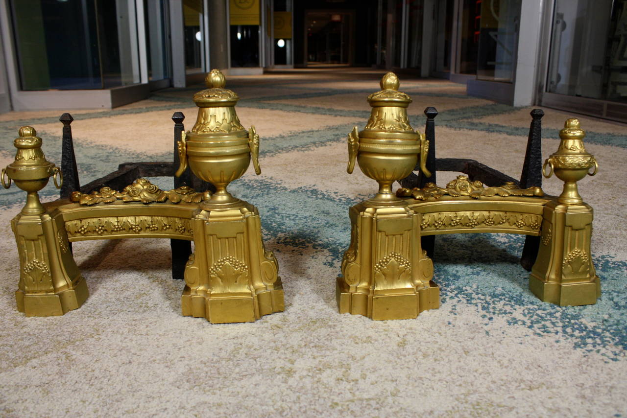 Louis XVI Pair of French Gilt-Bronze Neoclassical Andirons For Sale