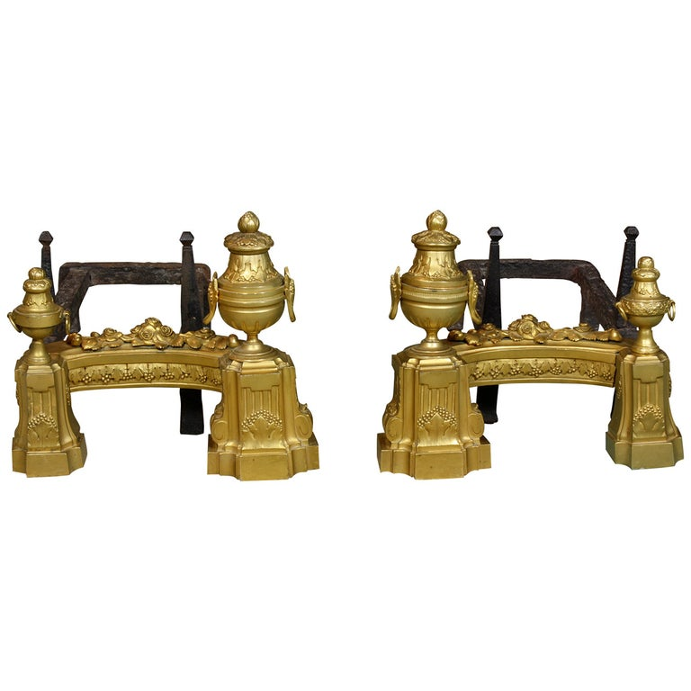 Pair of French Gilt-Bronze Neoclassical Andirons For Sale