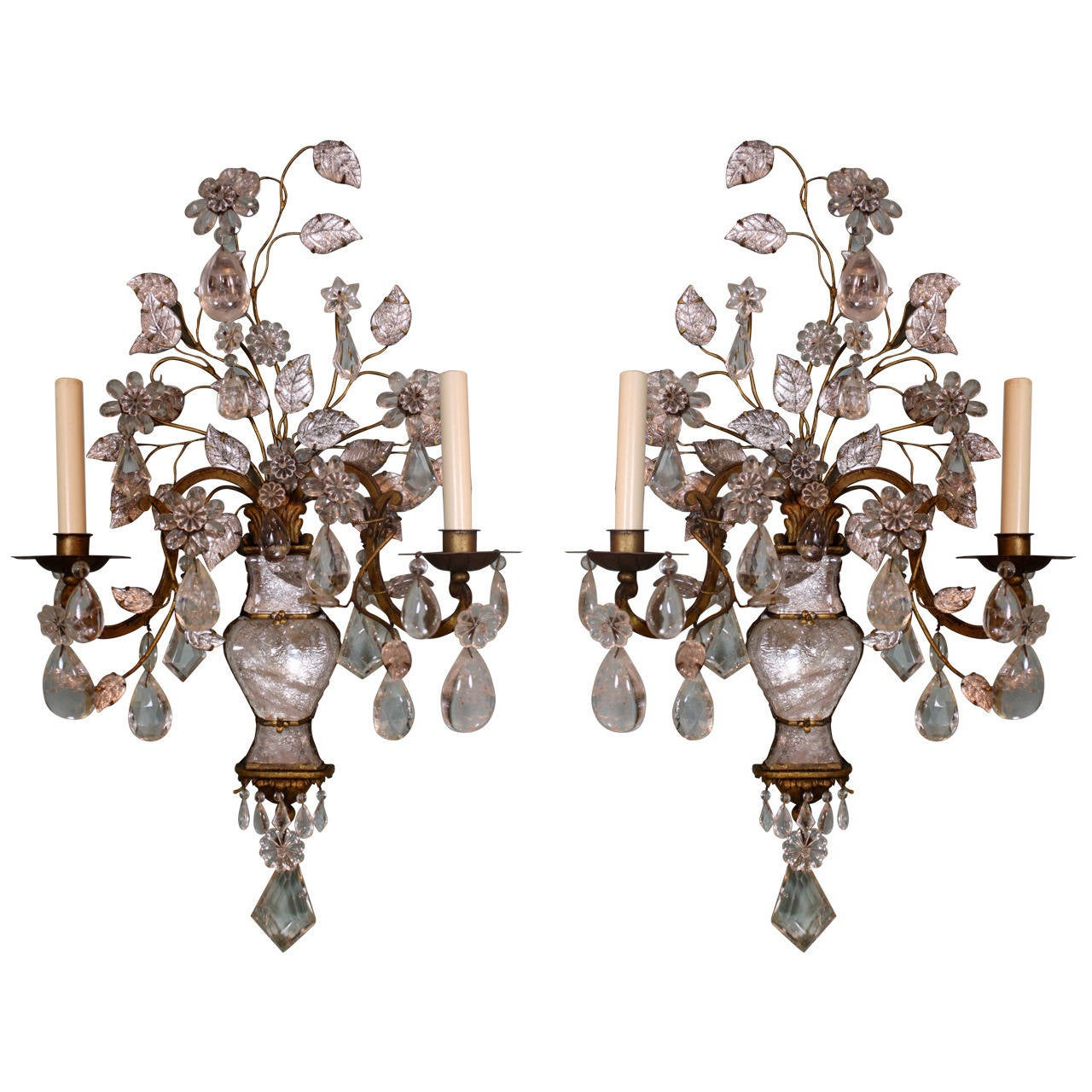 Spectacular Pair of Maison Baguès Rock Crystal Sconces