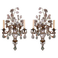 Spectacular Pair of Maison Bagues Rock Crystal Sconces