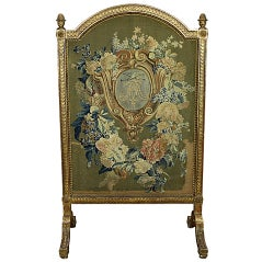 Louis XVI Period Needlepoint Fire Screen