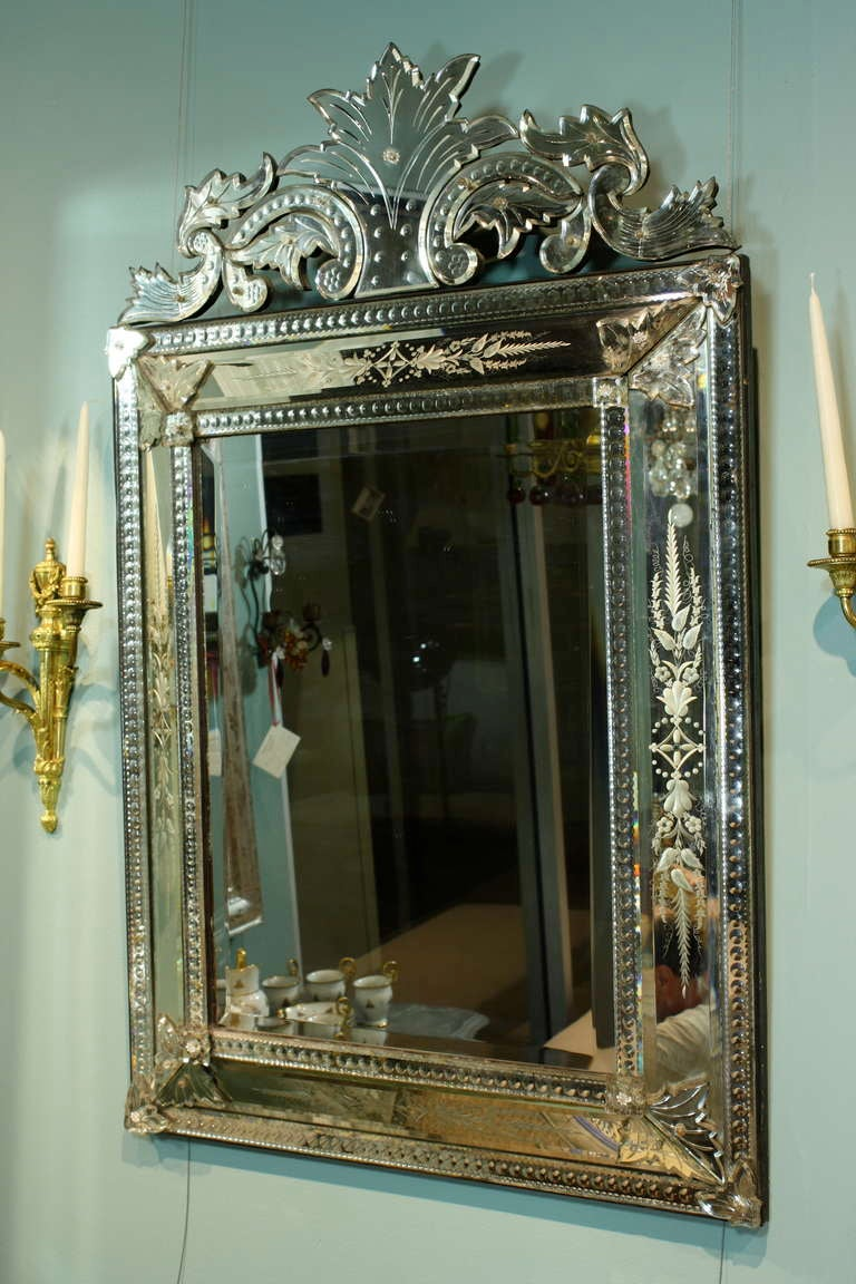Neoclassical Venetian Pareclose Mirror with Bevelled Glass For Sale