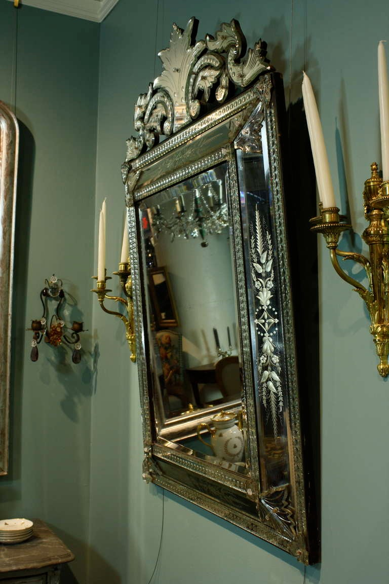 Italian Venetian Pareclose Mirror with Bevelled Glass For Sale