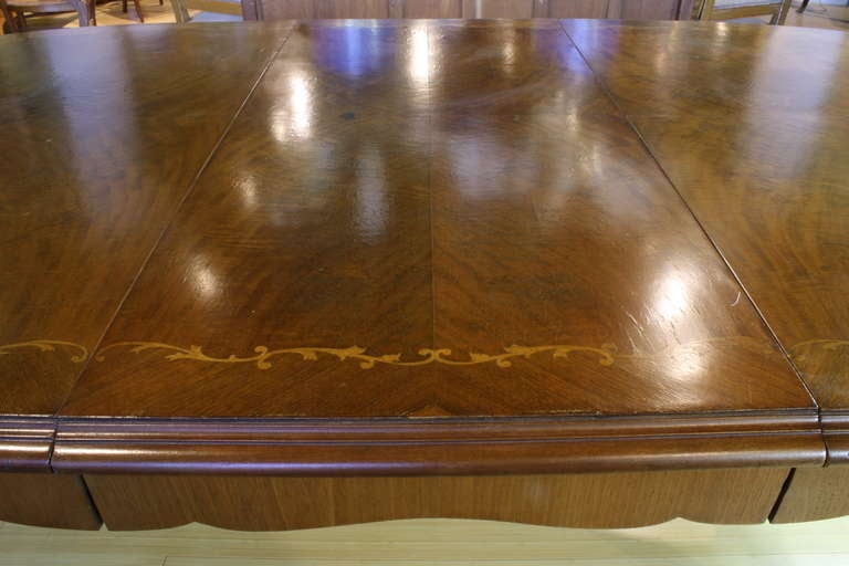 French, Louis XV Style Marquetry Dining Table For Sale 1