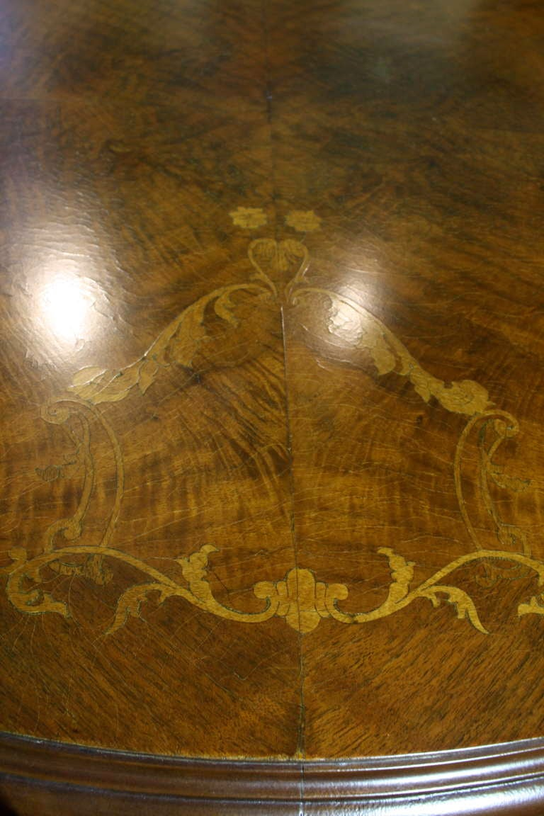 Mahogany French, Louis XV Style Marquetry Dining Table For Sale