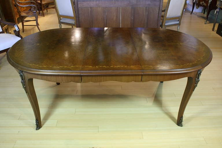 French, Louis XV Style Marquetry Dining Table In Good Condition For Sale In Pembroke, MA