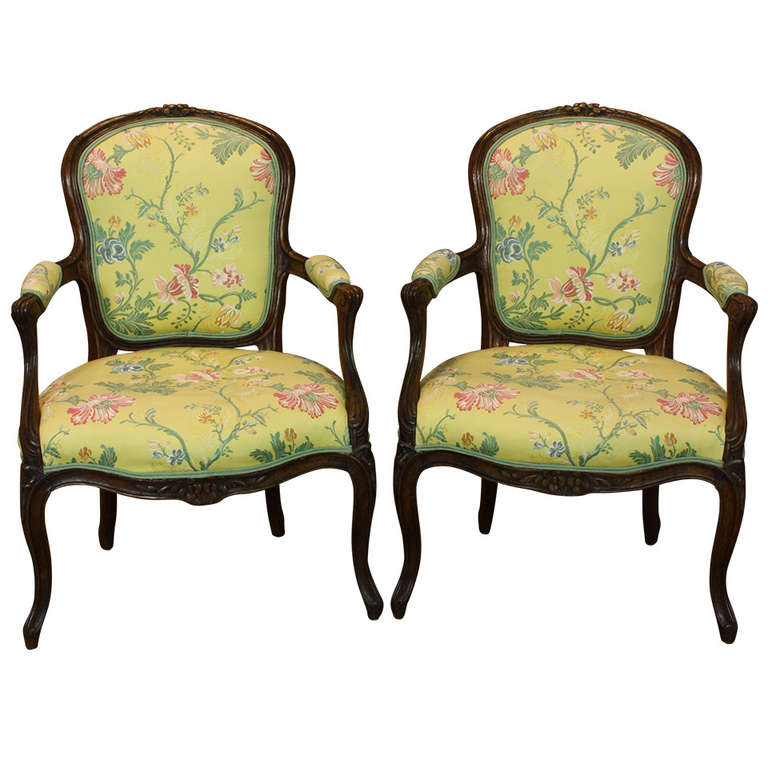 Pair of French Louis XV Period Fauteuils For Sale