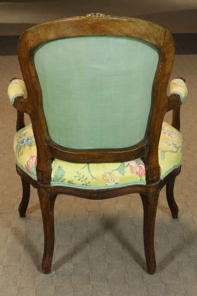 Fruitwood Pair of French Louis XV Period Fauteuils For Sale