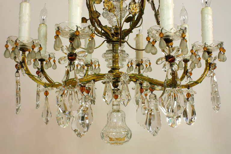 Exquisite Gilt Metal And Crystal Chandelier By Maison