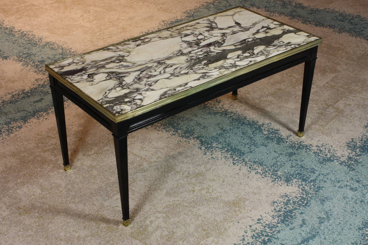 Black White And Gold Marble Top Attributed To Maison Jansen Circa
