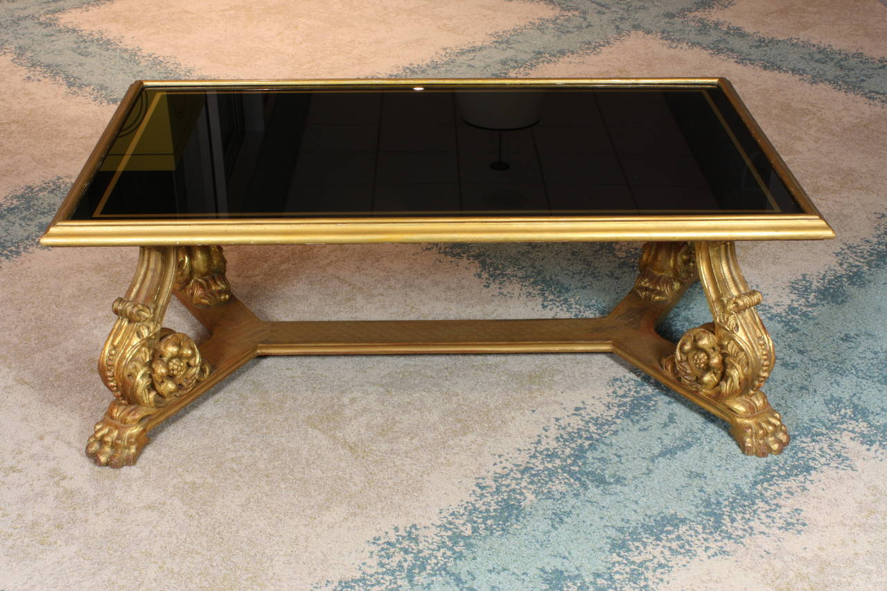 Baroque Revival French Giltwood and Black Glass-Top Coffee Table by Hirsch For Sale