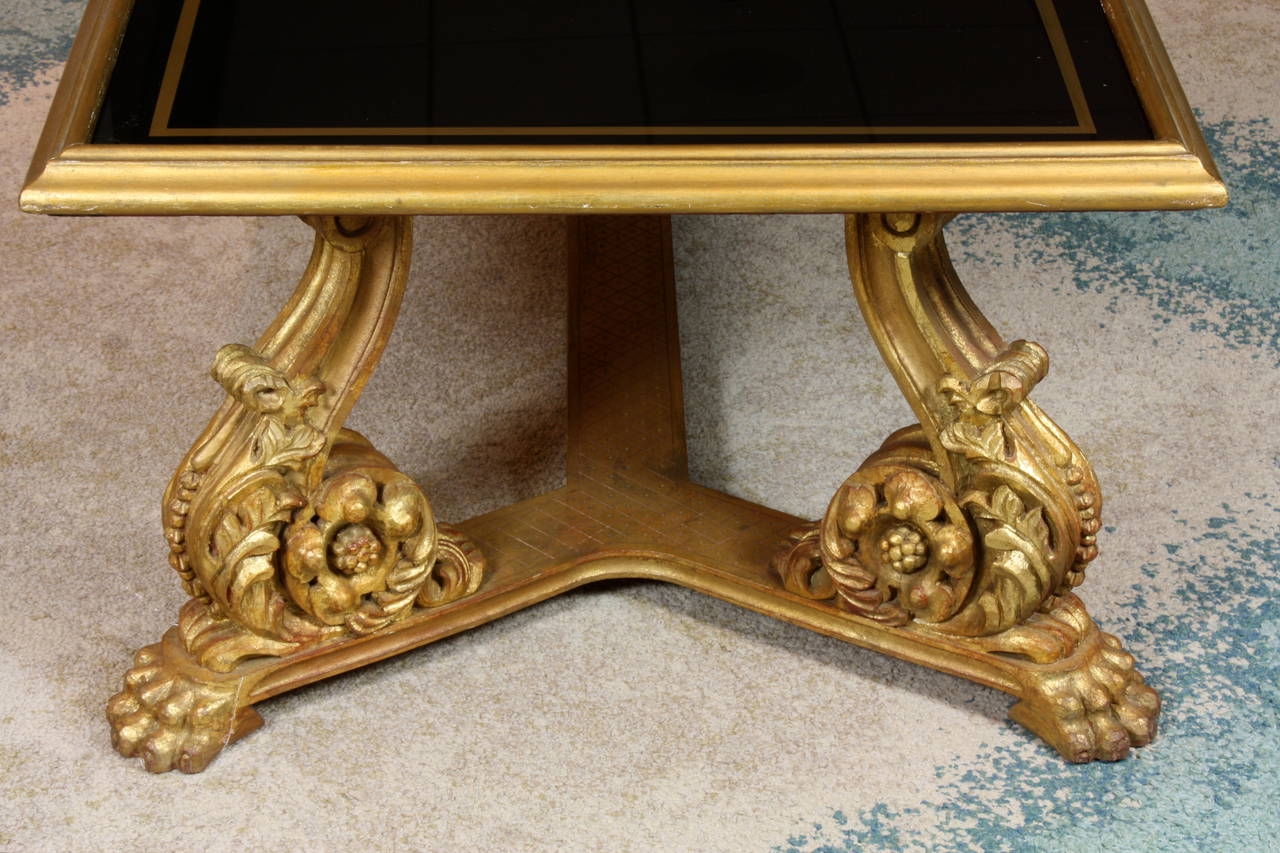 20th Century French Giltwood and Black Glass-Top Coffee Table by Hirsch For Sale