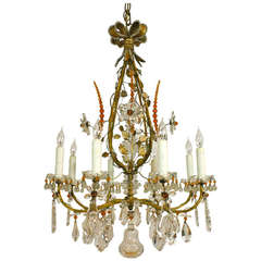 Exquisite Gilt-Metal and Crystal Chandelier by Maison Baguès