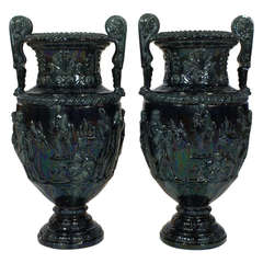 Pair of Large French Glazed Ceramic Grecian Style Urns
