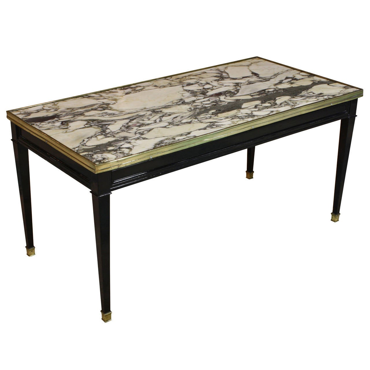 Jansen black lacquered marble top cocktail table at 1stdibs Coffee tables with marble tops