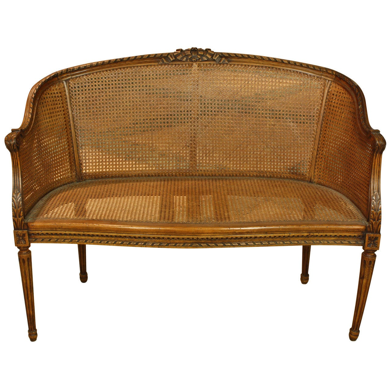 French Louis Xvi Style Caned Fruitwood Settee At 1stdibs