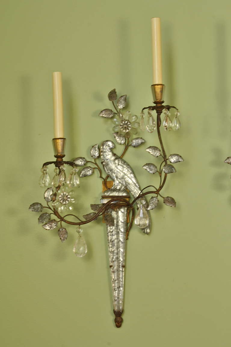 Pair Of Parrot Sconces With Rock Crystals By Maison Bagu 232 S