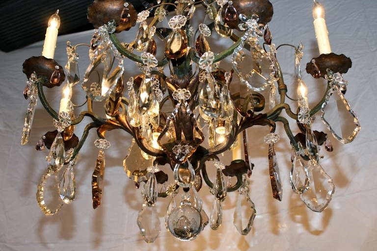 Large French Wrought Iron and Crystal Chandelier by Maison Baguès For Sale 1