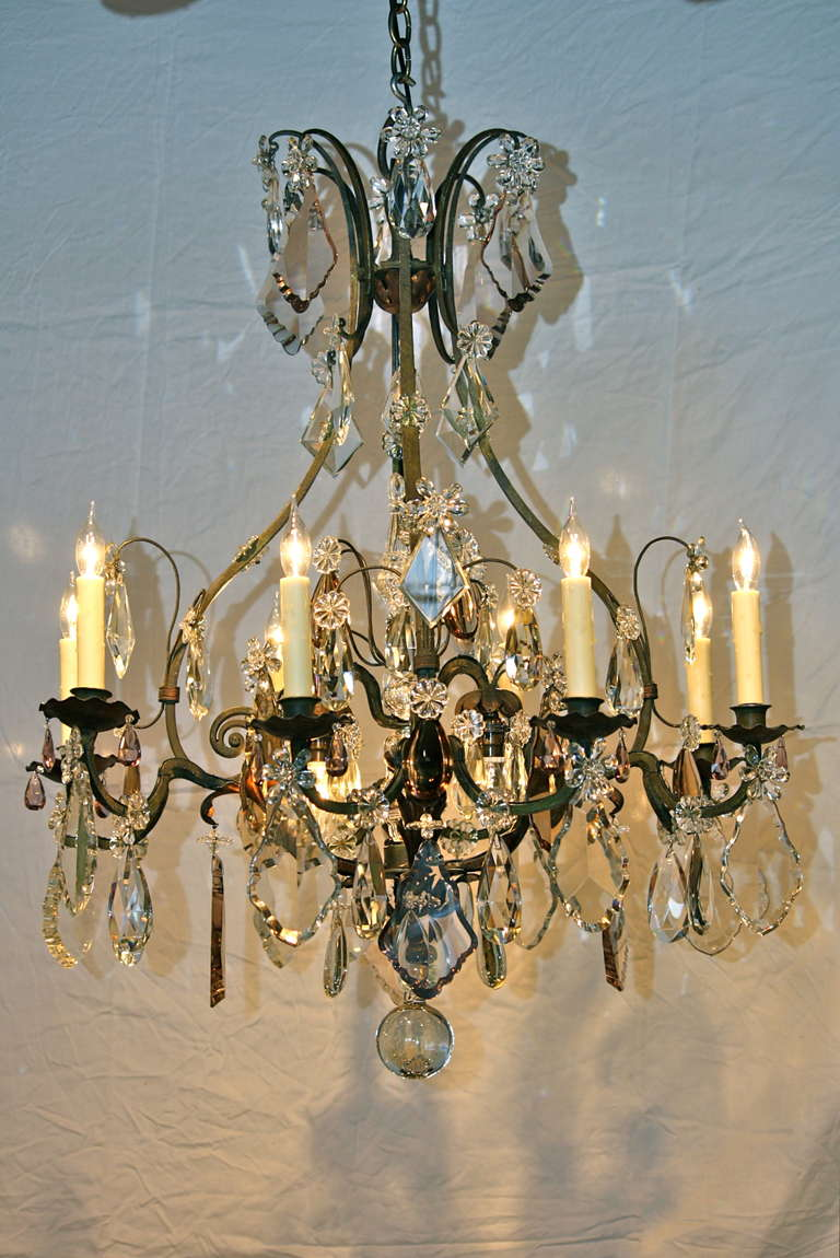 Large french wrought iron and crystal chandelier by maison bagus an impressive french wrought iron and tole leaf chandelier in cage form with central spear mozeypictures Choice Image