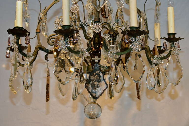Mid-20th Century Large French Wrought Iron and Crystal Chandelier by Maison Baguès For Sale